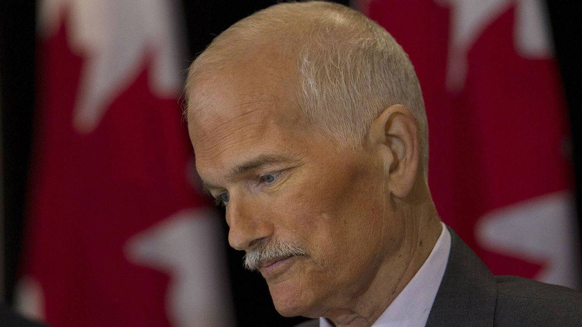 NDP Leader Jack Layton pauses at a new conference in Toronto on Monday, July 25, 2011. Layton has been diagnosed with another form of cancer and is taking a temporary leave of absence as leader of the federal New Democrats to fight it.
