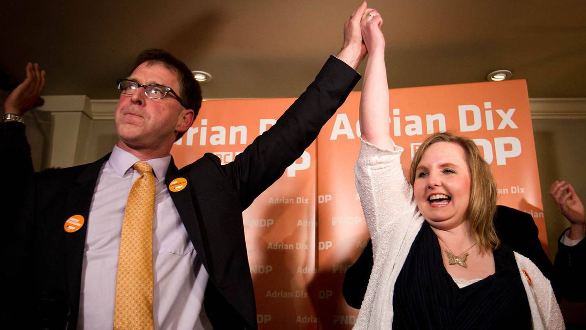 NDP MLA-elect Gwen O'Mahony celebrates her by-election win in the riding of Chilliwack-Hope with B.C. NDP Leader Adrian Dix, in Chilliwack, B.C., on April 19, 2012.