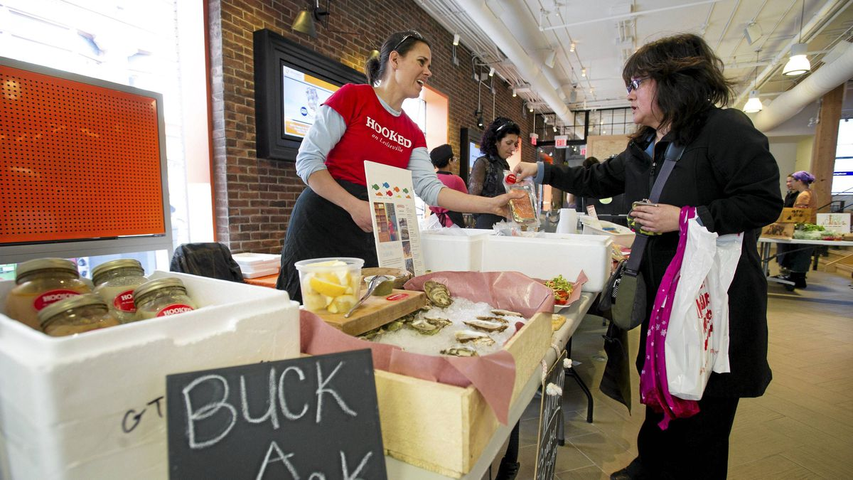 Hooked sells ethical seafood to office workers at a pop-up market in the ING Direct building.
