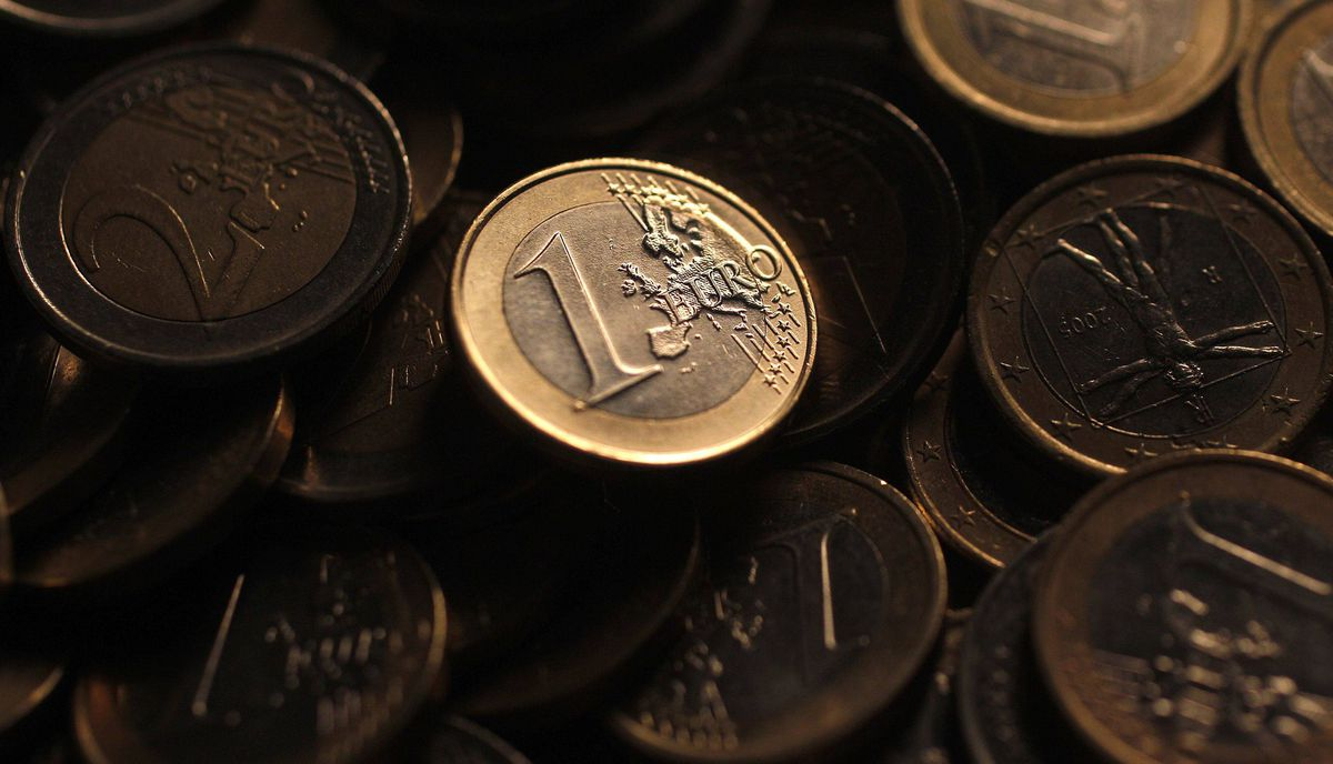 Euro coins are seen in this photo illustration taken in Rome, December 9, 2011.