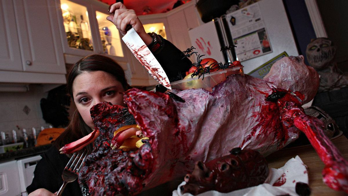 """Self-proclaimed """"hauntaholic"""" Danielle Vendetti at her extremely decorated home in Toronto on October 29th, 2008. Vendetti's house is filled with corpses, severed heads, and various items she has made herself, taking months of her time."""