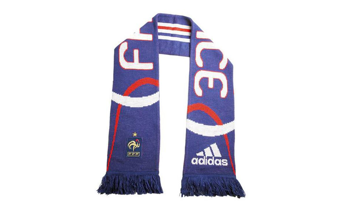 French accent: Leave it to France to inspire this chic varsity scarf bearing its team colours. $29.99 through www.realsports.ca.