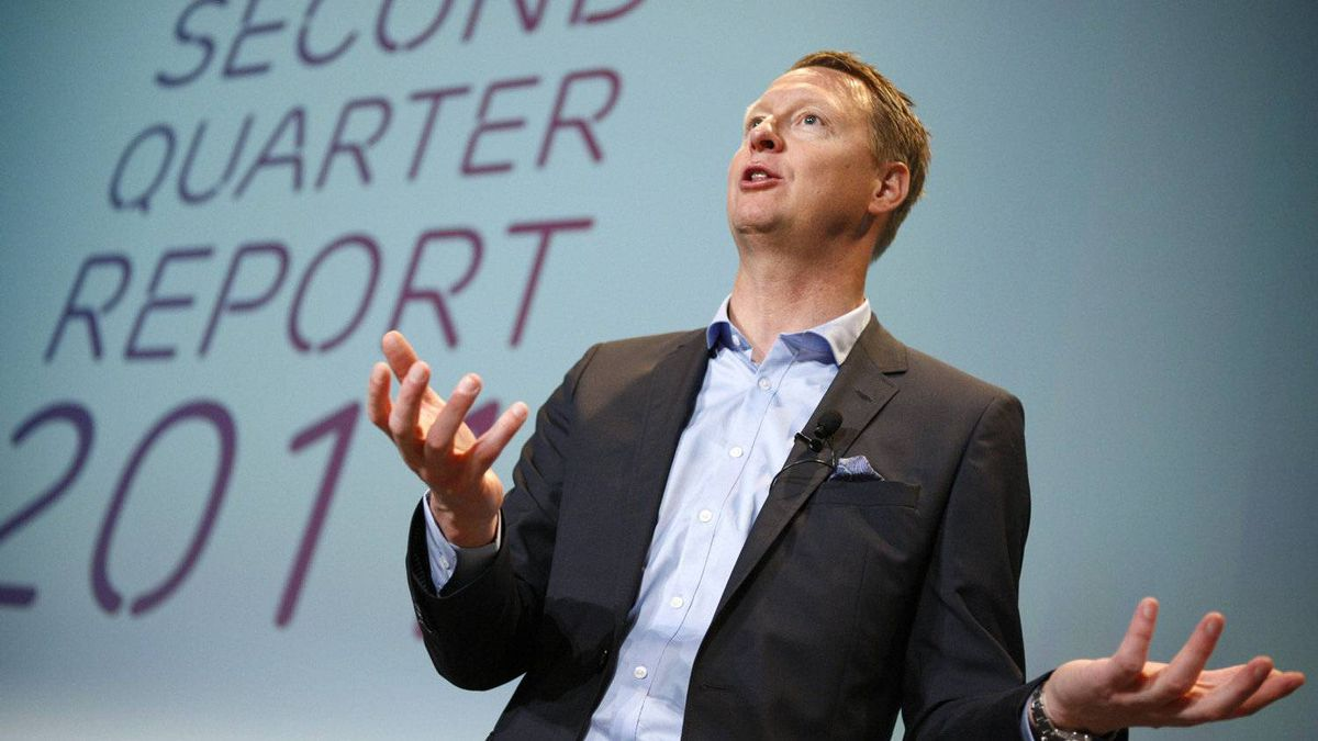 Ericsson CEO Hans Vestberg presents the company results for the second quarter during a news conference in Stockholm, July 21, 2011.