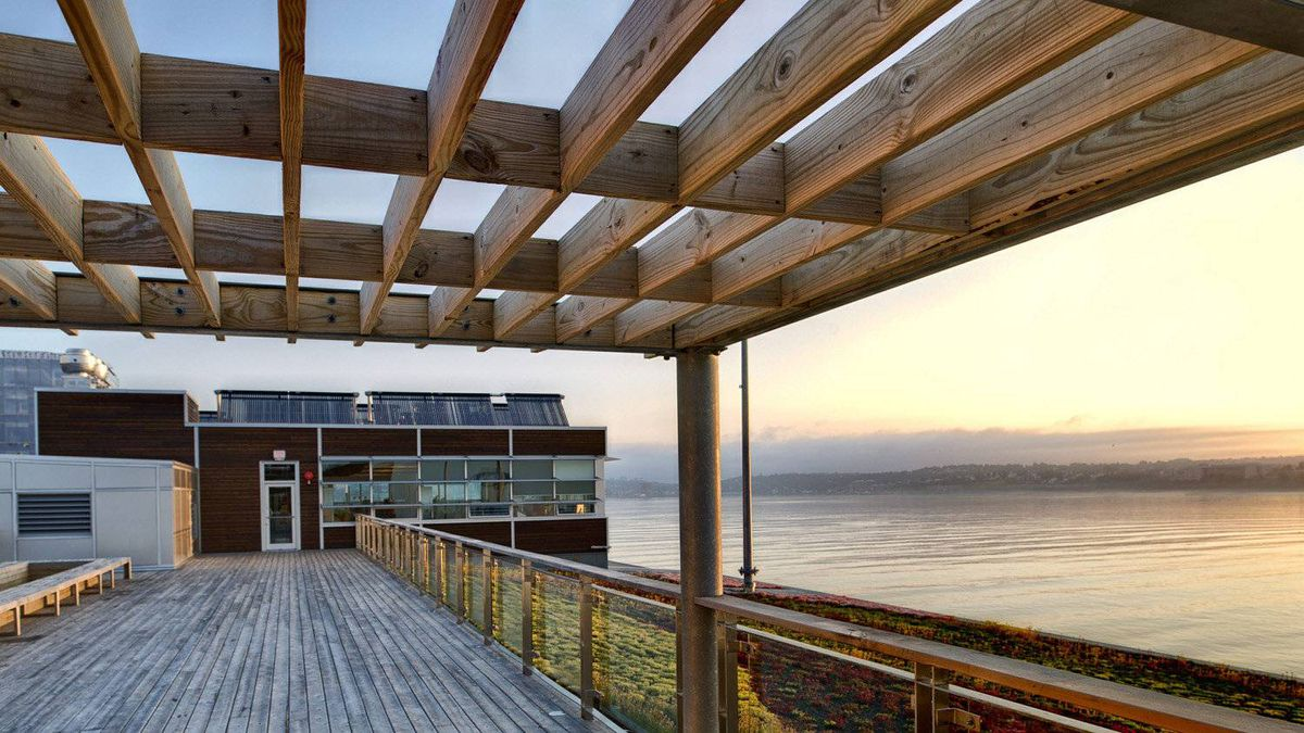 The rooftop deck gives unparalleled views of Halifax Harbour. The building boasts Canada's second-largest green roof. The building is one of the most sustainably designed, low energy buildings in North America.