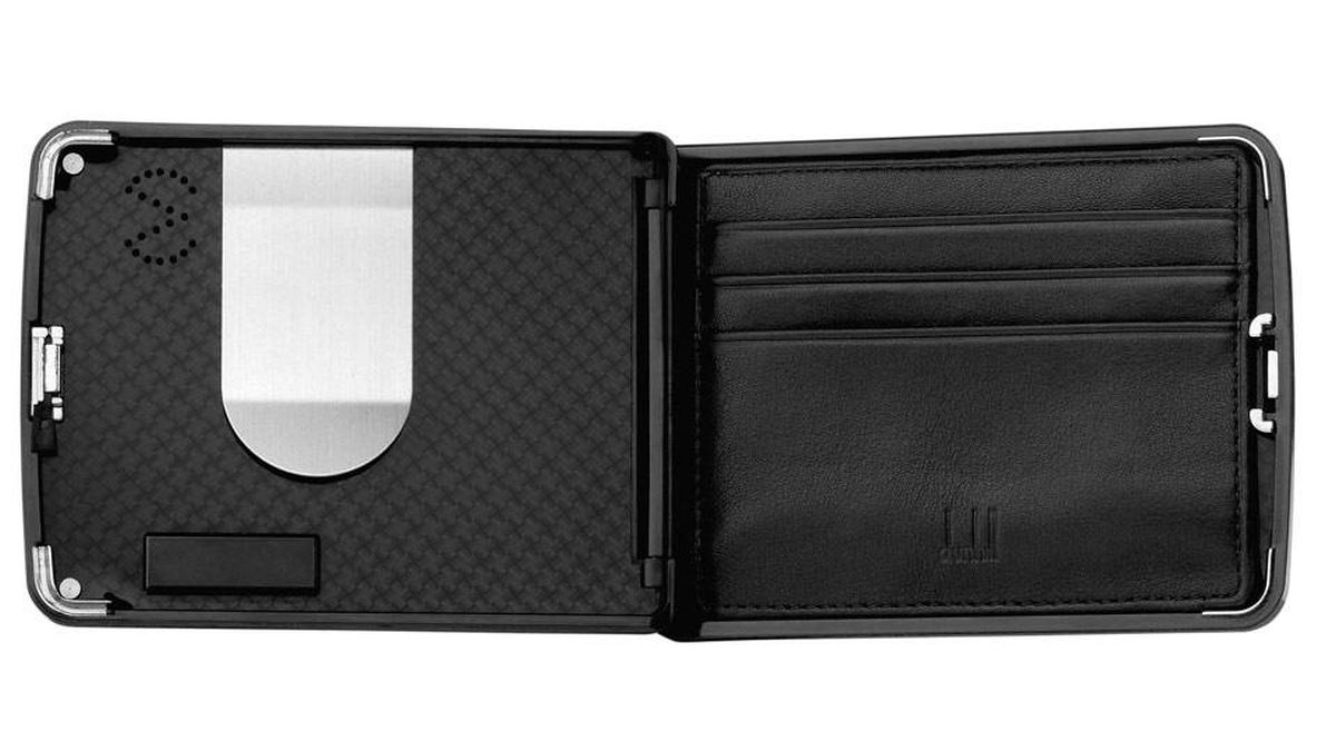 Safeguard it Pickpocket-proof your next vacation with Dunhill's Biometric Wallet. Using biometric reading technology and a durable carbon-fibre construction, the pocket-sized vault opens only at the touch of your fingerprint. Link the wallet to your mobile phone via Bluetooth and an alarm will sound if you are separated from it by more than five metres. It also has a stainless-steel money clip and a sleek leather credit-card holder inside. $825 (U.S.), dunhill.com