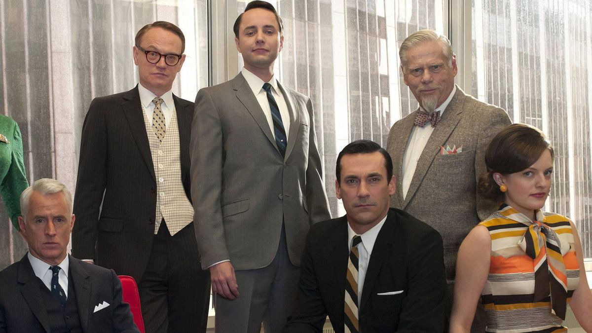 From left: Roger Sterling (John Slattery), Lane Pryce (Jared Harris), Pete Campbell (Vincent Kartheiser), Don Draper (Jon Hamm), Bertram Cooper (Robert Morse) and Peggy Olson (Elisabeth Moss).