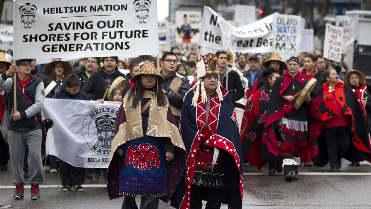 Protesters from the Heiltsuk First Nation rally in Vancouver against the proposed Enbridge pipeline, March 26, 2012.