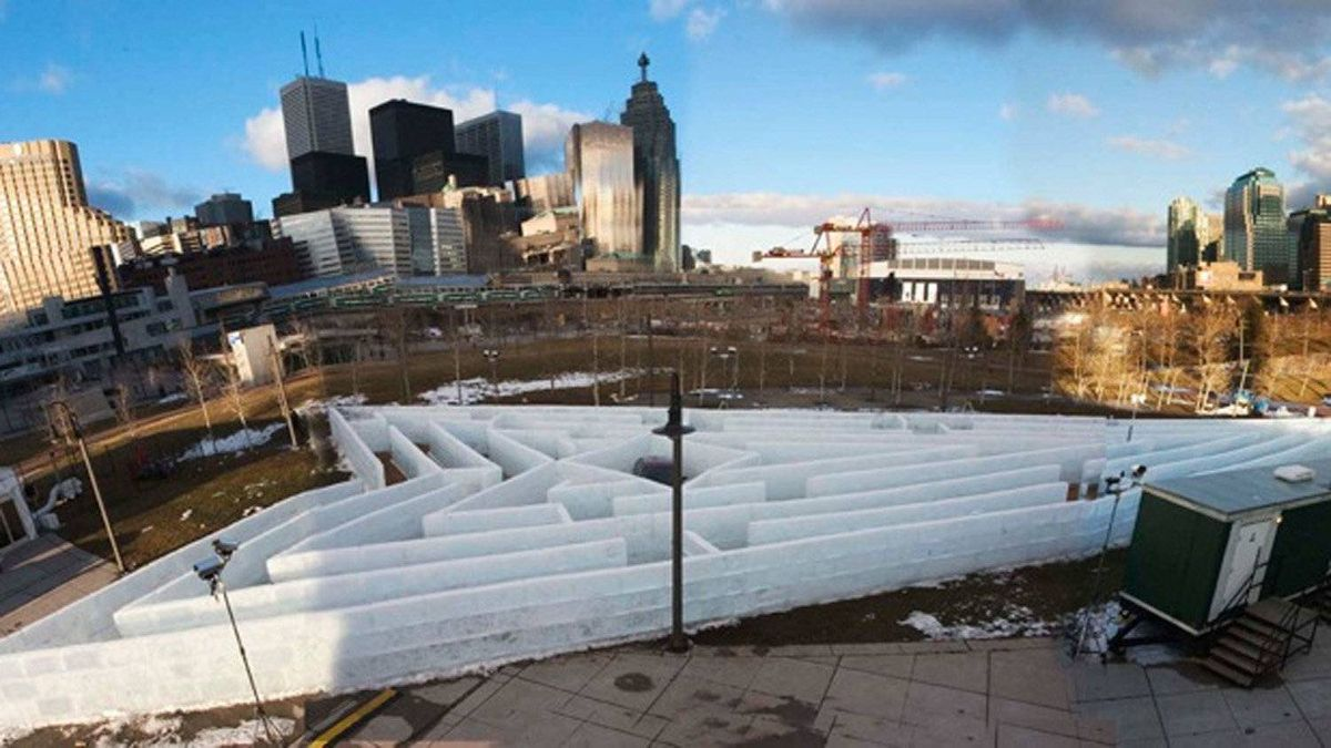 The Pontiac Ice Maze, built for the 2005 Canadian Auto Show, had 2,000 blocks and briefly earned Iceculture a place in the Guinness Book of World Records.