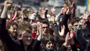 Students hold a peaceful demonstration outside of UQAM in Montreal, April 12, 2012.