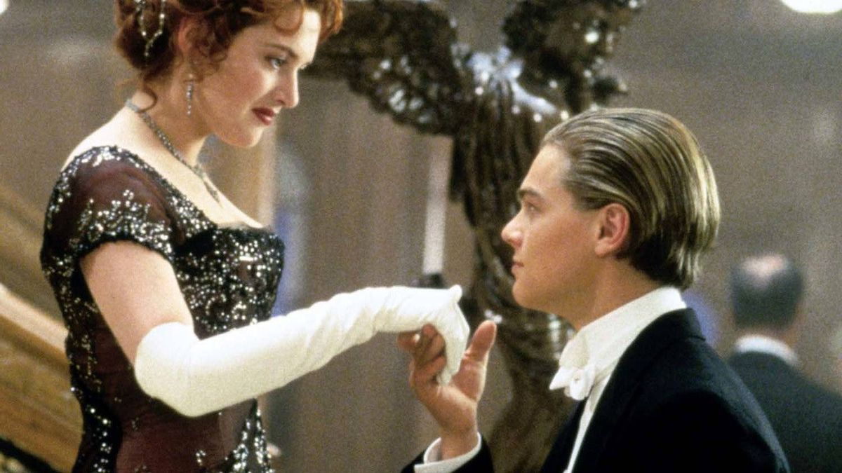 "A scene from James Cameron's ""Titanic,"" a movie based on actual events, kids."