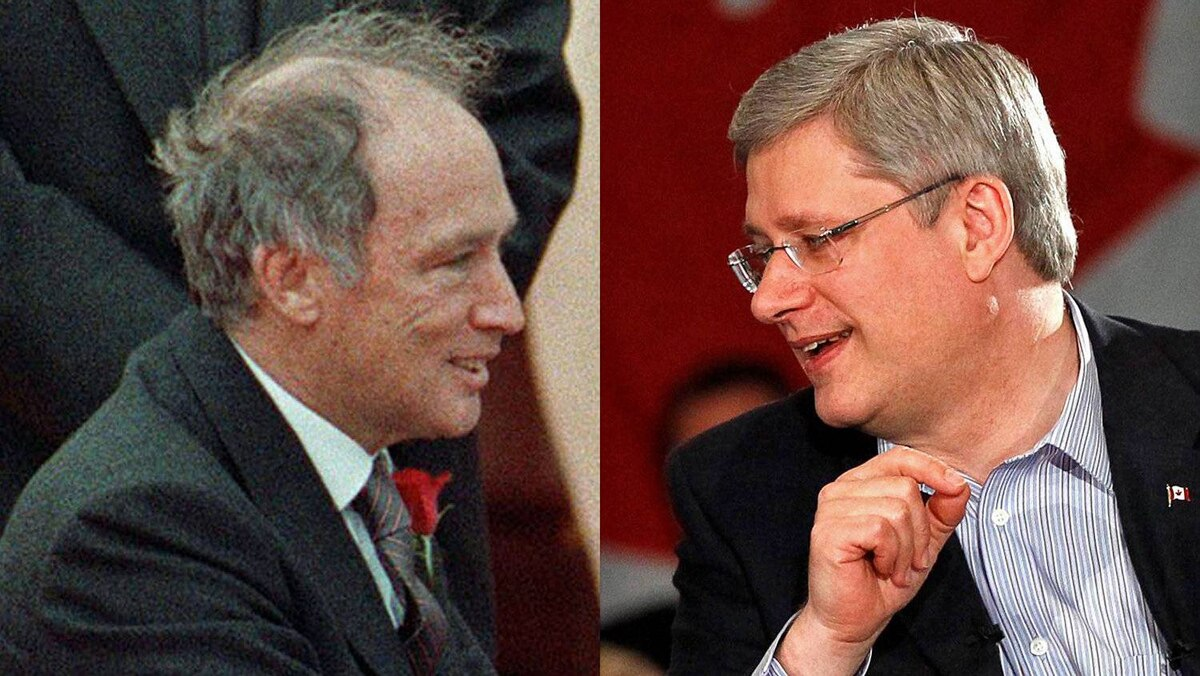 Former Liberal prime minister Pierre Trudeau and Tory Leader Stephen Harper are shown in a photo combination.