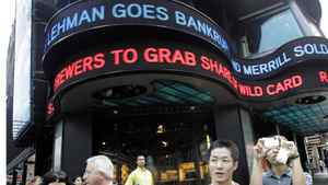 A ticker in New York announces the bankruptcy filing of Lehman Brothers