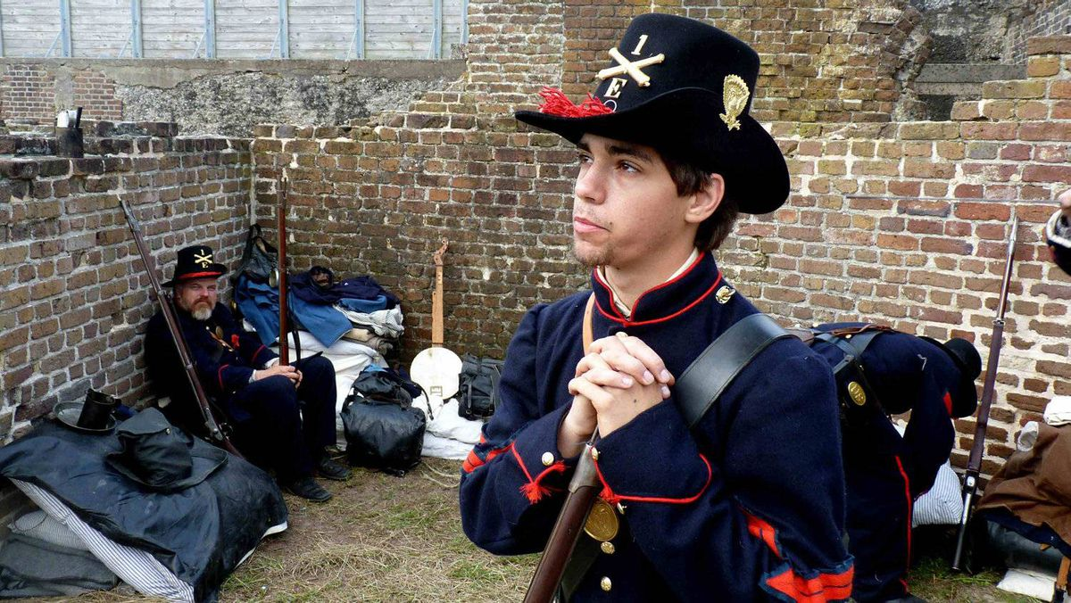 Union re-enactor Ross Collins of Rome, Ga., is seen at Fort Sumter in Charleston, S.C., on April 12, 2011.