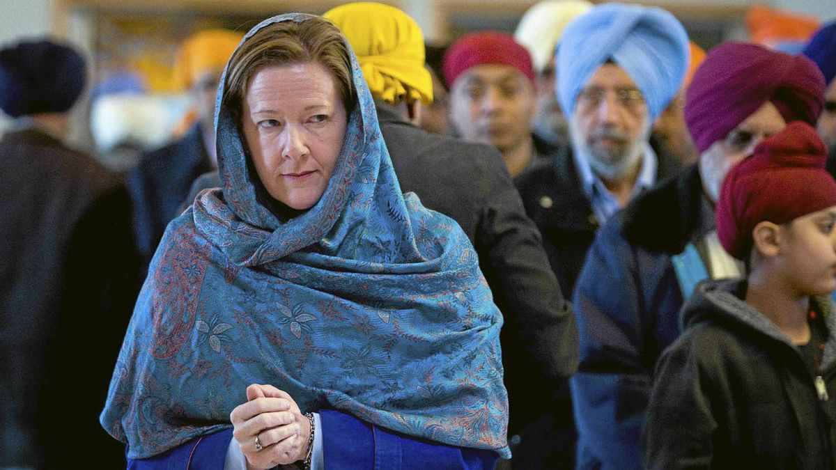 Alberta PC party leader Alison Redford makes a campaign stop at a Sikh temple in Calgary, Alta., Sunday, April 15, 2012. Albertans go to the polls on April 23.