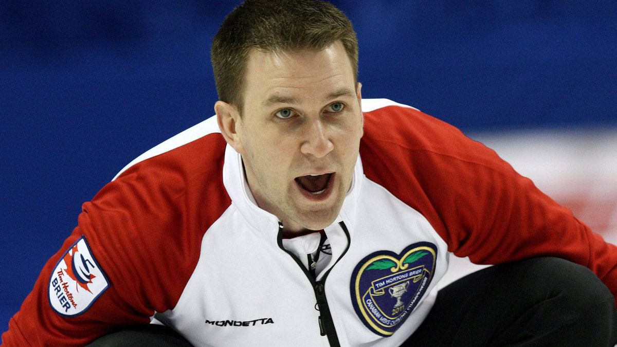 Newfoundland/Labrador skip Brad Gushue yells to sweepers in semi-final match against Ontario at the Brier Canadian Curling Championships in London, Ontario, Saturday, March 12, 2011. Gushue sounds like he's wrestling between aspiration and expectation.The skip of Newfoundland and Labrador has a young team with him at the Canadian men's curling championship starting Saturday in Saskatoon. THE CANADIAN PRESS/Dave Chidley