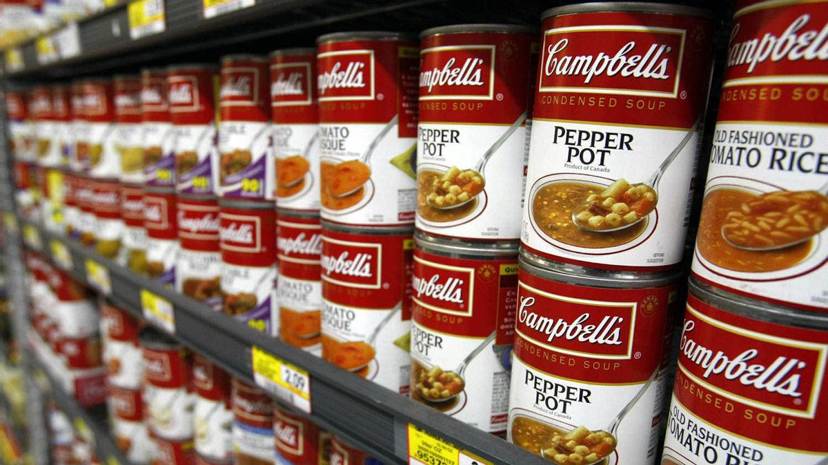 Campbell's soups are on display at a grocery store in Palo Alto, Calif., in this November 2009 file photo.