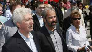 Daniel Paille, centre, wih Gilles Duceppe (left) and Parti Quebecois MLA Louise Beaudoin, walking at the May Day parade Sunday, May 1, 2011 in Montreal.