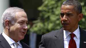 U.S. President Barack Obama and Israeli Prime Minister Benjamin Netanyahu during a White House meeting on July 6, 2010.