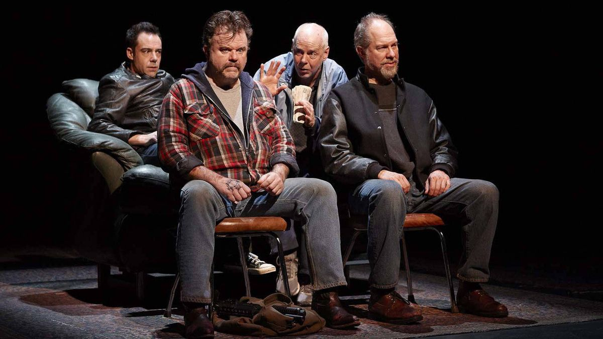 "Mike Ross as Billy, Michael Hanrahan as Bug, Oliver Dennis as Donnie and Diego Matamoros as Dick in Soulpepper's production of ""High Life"""