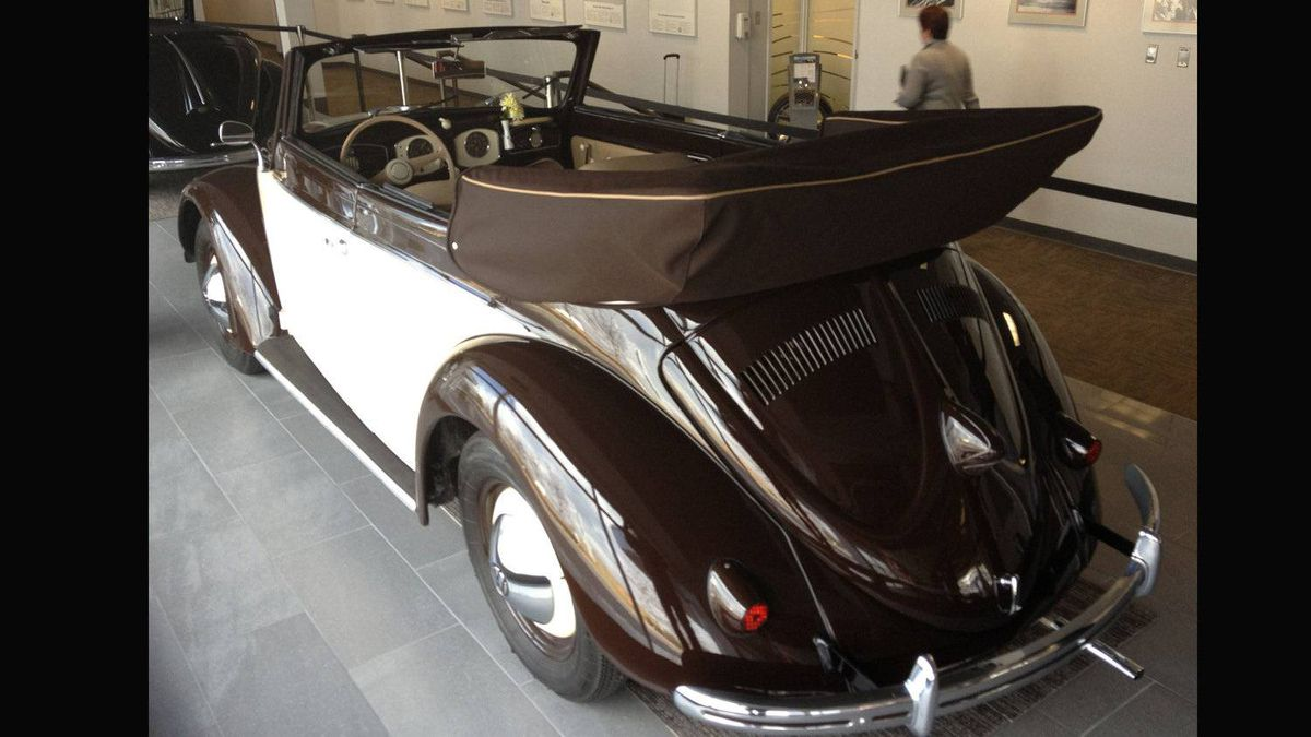 1949 Hebmueller cabriolet: Built on a Volkswagen Beetle chassis by a German coach-building company, the Hebmueller is a rare convertible car - only 682 were produced, between 1949 and 1951.