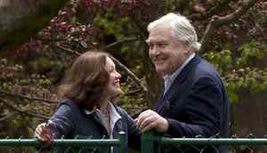 Conrad Black and his wife Barbara Amiel on the grounds of their after Toronto home May 4, 2012. Black was released from a Florida jail earlier in the day and returned to Canada. (Moe Doiron/The Globe and Mail)