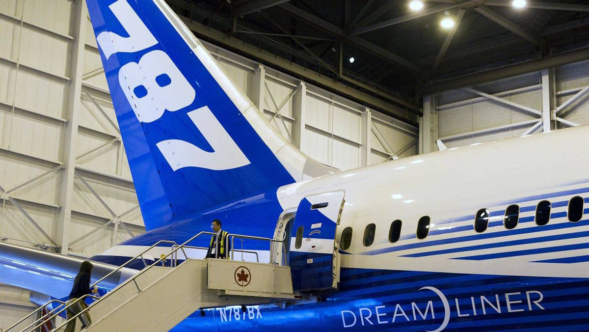 The tail of Boeing's 787 Dreamliner aircraft is seen during a media preview at an Air Canada hangar at Pearson International Airport in Toronto on March 2, 2012.
