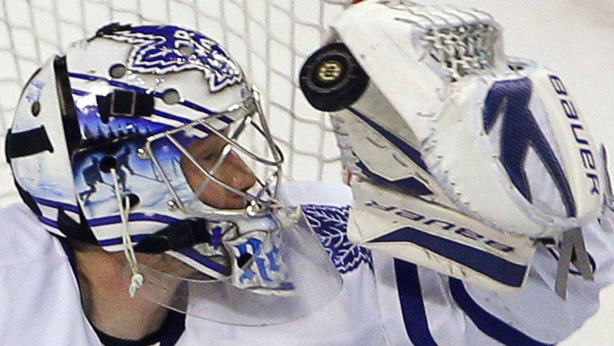 An undisclosed injury is keeping Toronto Maple Leafs goaltender James Reimer out of action. REUTERS/Brian Snyder