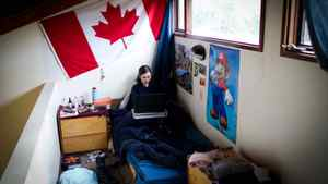 Brittany Hathaway, 18, from Nanaimo studies in her dorm room at Pearson College February 08, 2012.