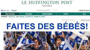 A screen capture of the newly launched Quebec edition of the Huffington Post is shown Wednesday, Feb. 8, 2012.