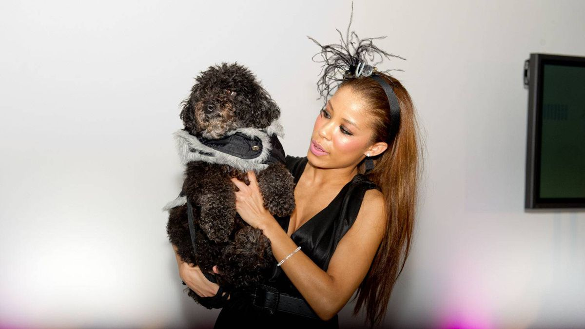 Singer Keshia Chante with her dog Dre