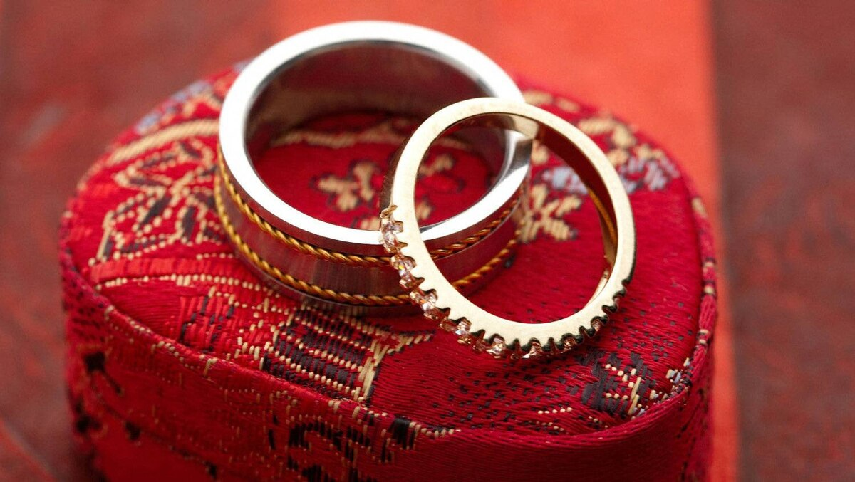 Rings on a gift box.