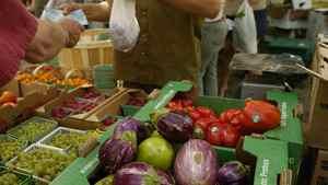 Organic produce is displayed by vendors at Riverdale Farm in Toronto, Ont.