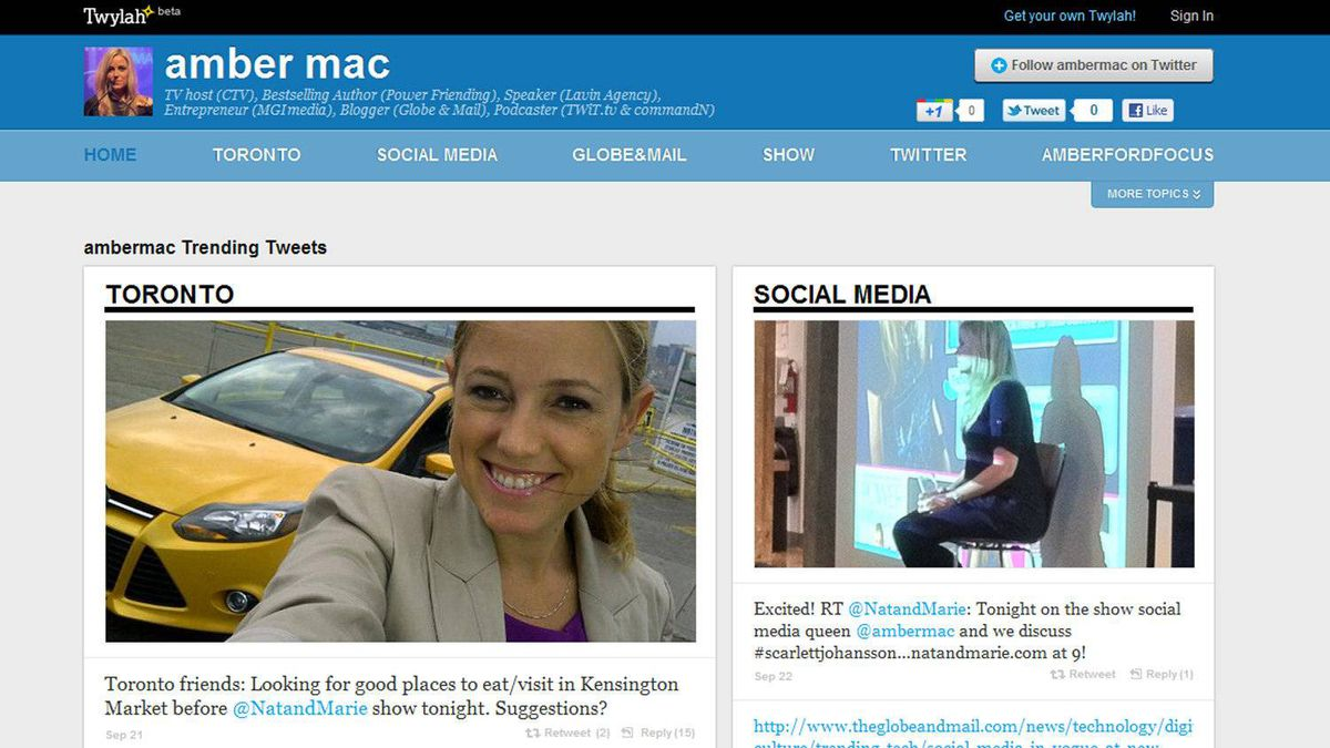 Ambermac tries out Twylah with her own Twitter feed.