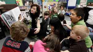 Teacher Jaime Fernie reads an Aboriginal-themed book to her all-day kindergarten and grade 1 class at Mission Central Elementary School in Mission, B.C., on Thursday December 16, 2010.
