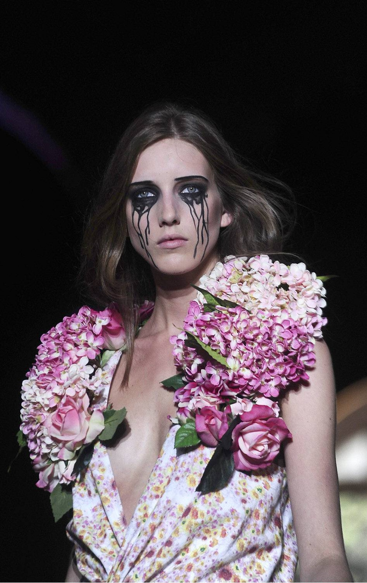 A model wears a creation from Manuel Bolano during a 080 Barcelona Fashion show on July 15, 2011.
