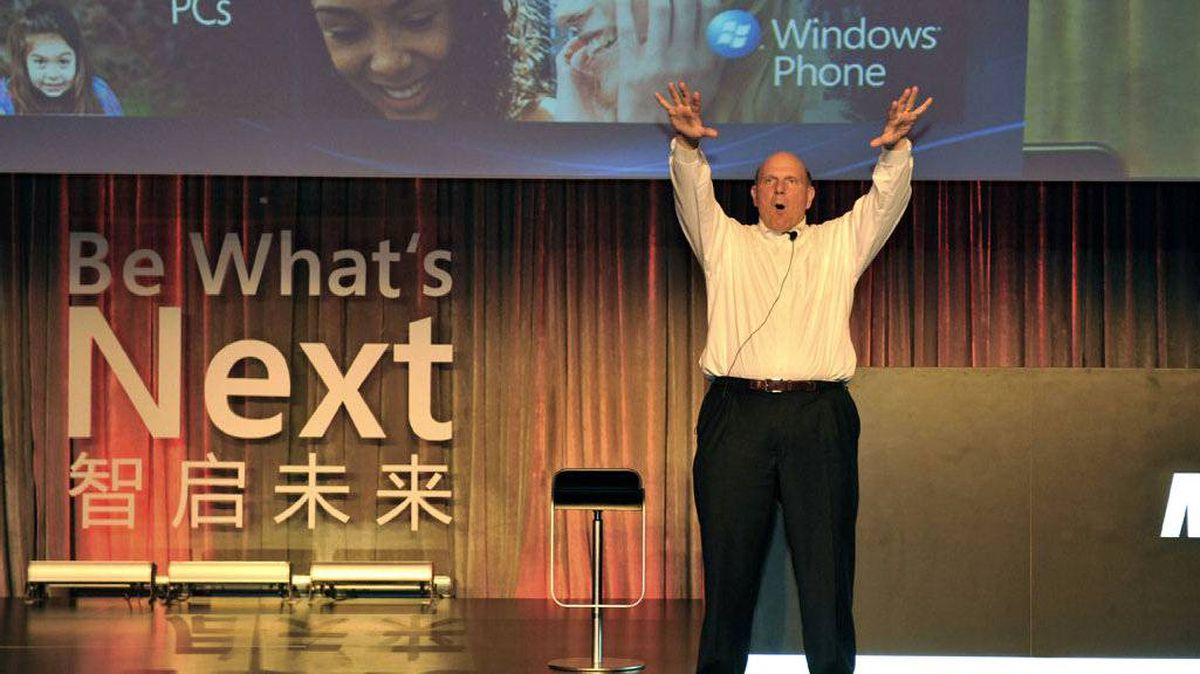 Microsoft CEO Steve Ballmer introduces the upcoming Windows Phone, which will arrive in China over the next few months, in Beijing on May 24, 2011.