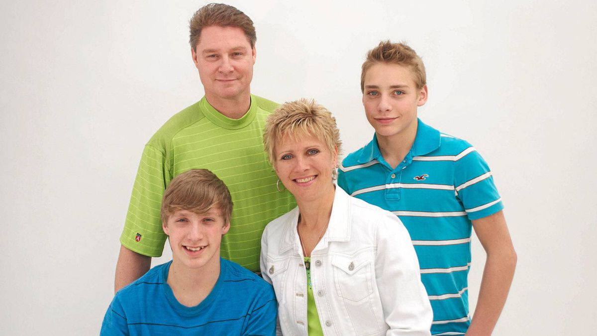 Shawnda Muir, from left, son Justin, husband Darryl and son Devin