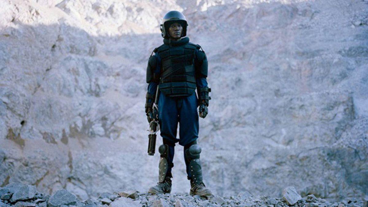 A Barrick Gold security guard on the edge of North Mara Mine.