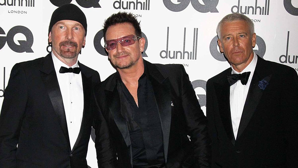 (L-R) The Edge, Bono and Adam Clayton of U2 attend the GQ Men Of The Year Awards at The Royal Opera House on Sept. 6, 2011 in London, England.