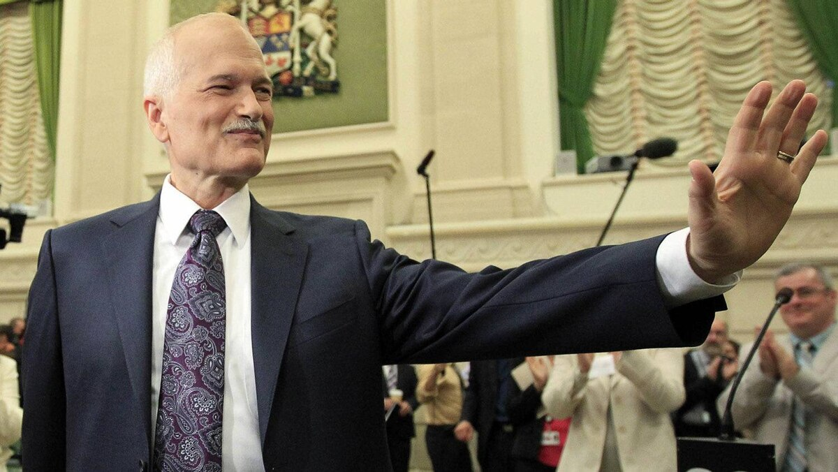 NDP Leader Jack Layton arrives at a caucus meeting in Ottawa on May 25, 2011.