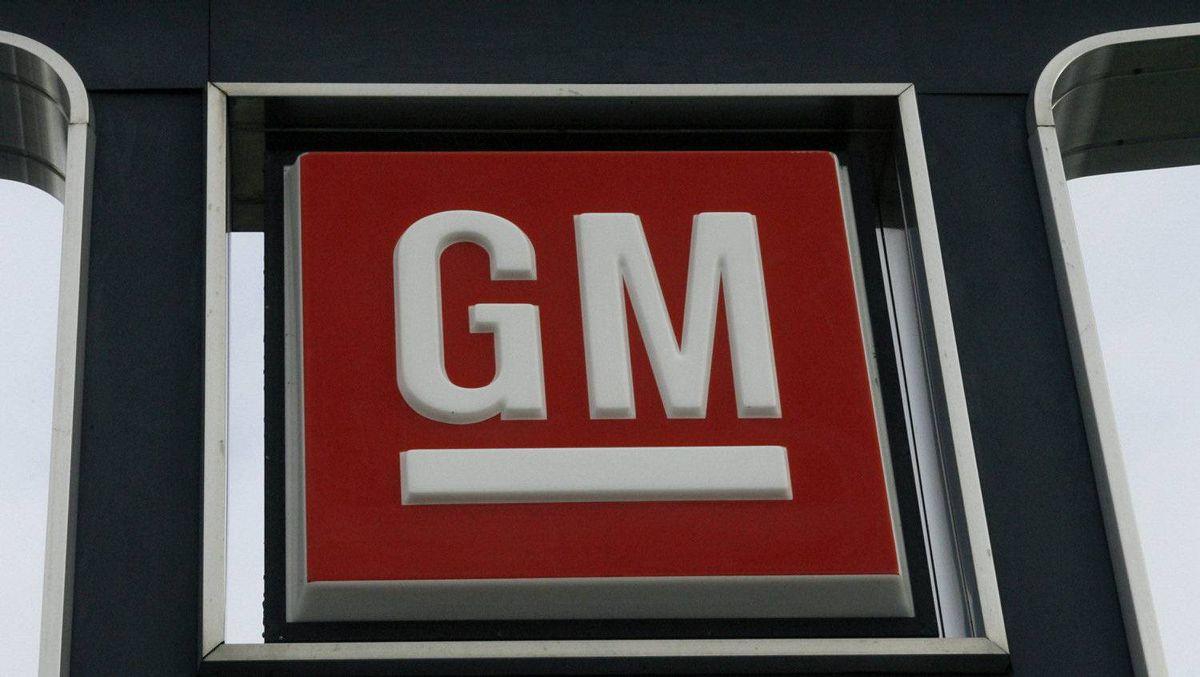 A General Motors logo is seen at a car dealership in Toronto.