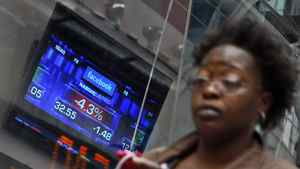 A monitor shows the value of the Facebook, Inc. stock during morning trading at the NASDAQ MarketSite in New York, May 22, 2012. Facebook's shares fell again on Tuesday, leaving them down nearly one-third from Friday's highs as questions mounted over the company's financial prospects and its ability to grow fast enough to meet the hype surrounding its stock.