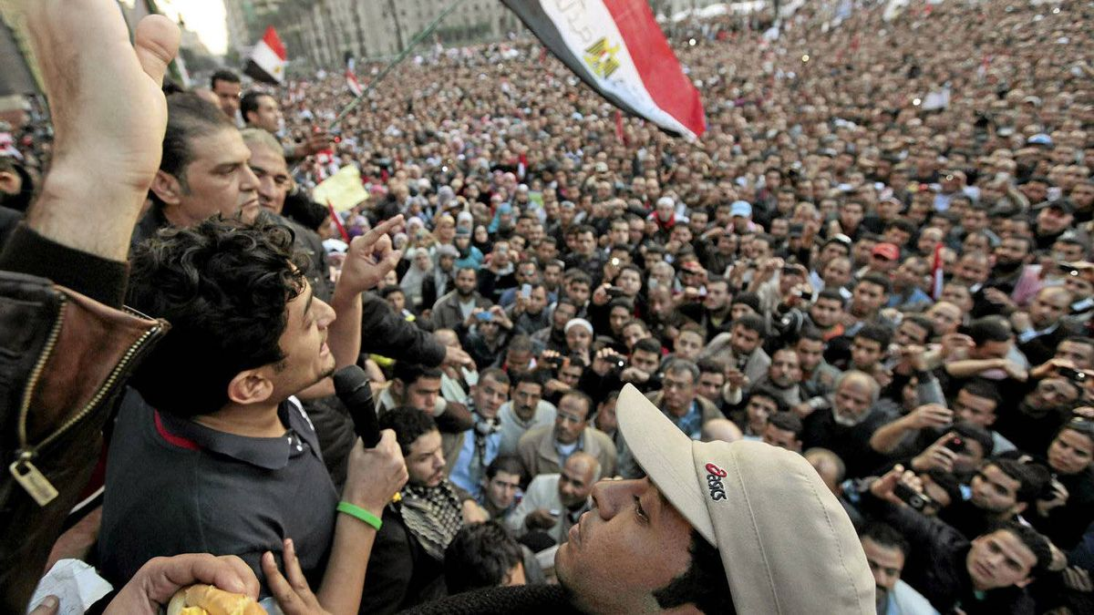 Google Inc executive Wael Ghonim addresses a mass crowd inside Tahrir Square in Cairo February 8, 2011.