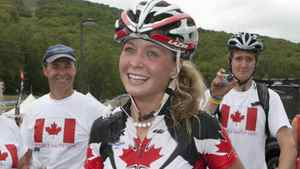 Emily Batty, right, of Brooklin Ont, stands at the finish after placing fifth in the women's under 23 cross-country on Thursday Sept. 2, 2010, at the Mountain Bike and Trials World Championships at Mont-Sainte-Anne, in Beaupre, Quebec.