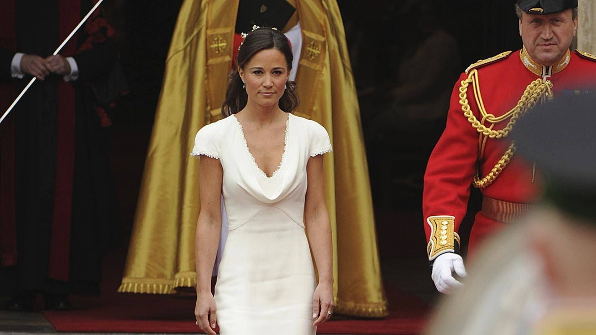 Philippa Middleton, sister of Kate Middleton and Maid of honour arrives at the West Door of Westminster Abbey in London for the wedding of Britain's Prince William and her sister, on April 29, 2011.