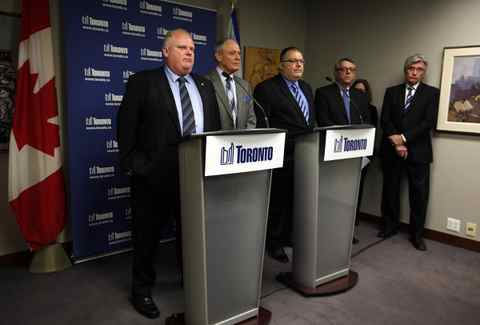 Mayor Rob Ford, Deputy Mayor Doug Holyday, Executive Director of Human Resources Bruce Anderson, Chief Negotiator Bob Reynolds and City Manager Joe Pennachetti during a press conference to discuss the latest information on negotiations with the CUPE 79 in Toronto, on March 29, 2012.