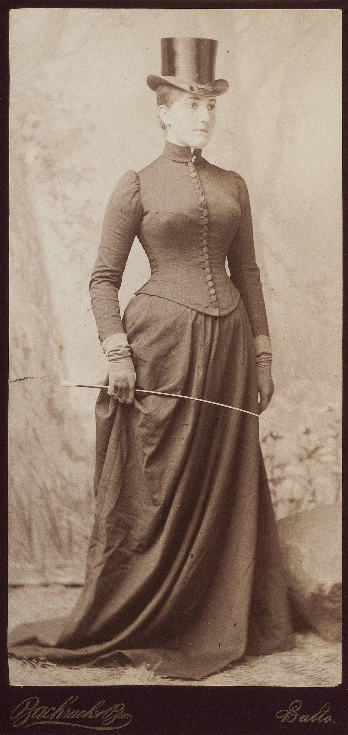 Etta Cone wearing a riding habit, circa 1889, Bachrach Bros. Dr. Claribel and Miss Etta Cone Papers, Archives and Manuscripts Collections, The Baltimore Museum of Art.