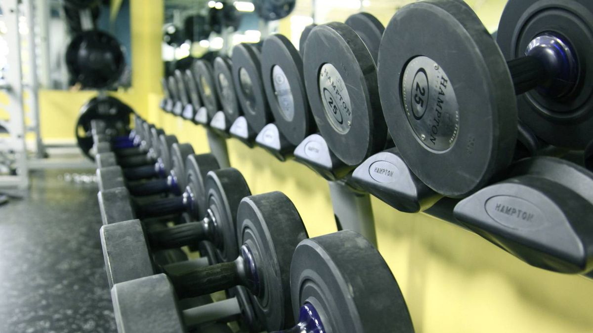 Free weights on display at the Motion Room