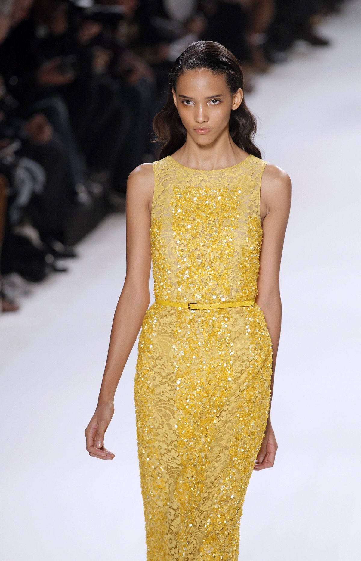 Ditto this gown. But at least sequins in yellow ochre are more distinctive. Here's where you play the role of stylist and decide which actress would wear it best.