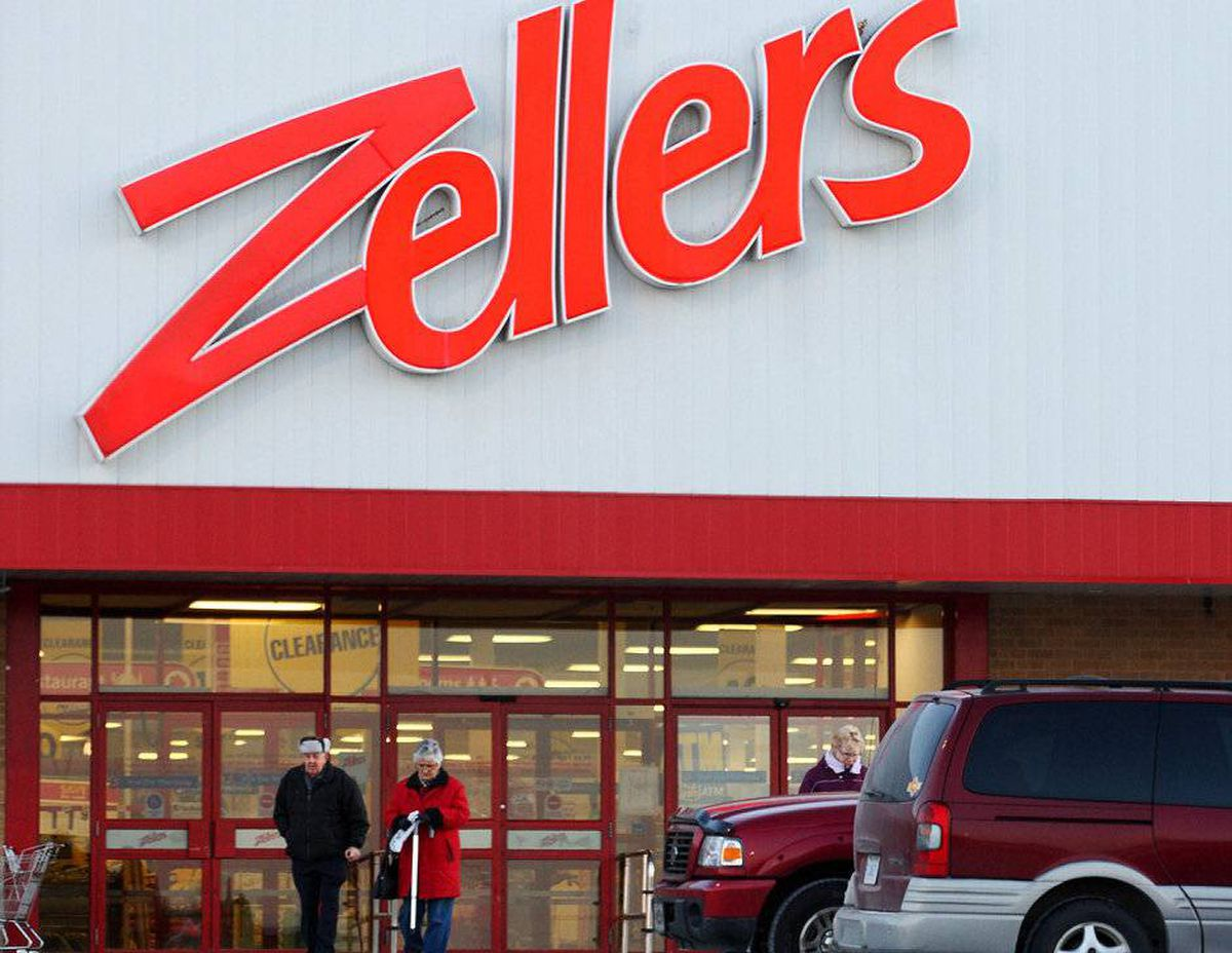 Shoppers leave the Zellers department store at the County Fair Mall in New Minas, Nova Scotia.